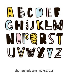 Funny childish made with ink alphabet.Vector cute handcrafted font.