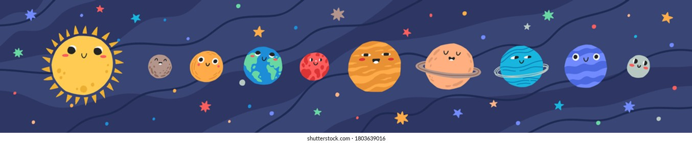 Funny childish planets in row vector flat illustration. Cute celestial bodies with smiling faces in sequence at outer space. Cartoon colorful astronomical objects at night sky