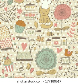 Funny childish seamless pattern with bee, bird, cat, hearts, kitchen elements in vector. Seamless pattern