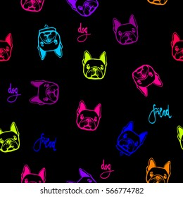 funny childish wallpaper with dogs repeated patter. creative original animals seamless backdrop. funny face French bulldog with collar. Black background, neon lines heads