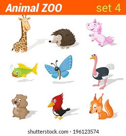 Funny children animals icon set. Kid language learning elements. Giraffe, hedgehog, unicorn, fish, butterfly, ostrich, hamster, woodpecker, squirrel.  Animal Zoo collection.