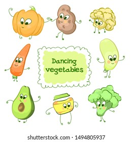 Funny children characters dancing vegetables, outline with colored fillings in cartoon style on a white background. Vector illustration