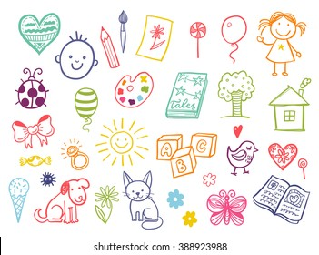 Funny children drawing vector doodle set.