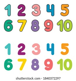 Funny children font with color numbers. Colorful vector illustration isolated on white background.  - Shutterstock ID 1840372297