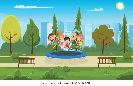 funny children jump on a trampoline in a city park. happy friends having fun on a sunny day at the attraction. vector illustration