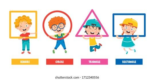 Funny Children Learning Basic Shapes