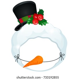 Funny children mask of a snowman with tophat is decorated with holly berries isolated on white background. Attribute children's party or matinee in kindergarten. Vector cartoon close-up illustration.