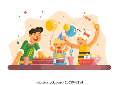 Funny children party vector illustration. Cheerful family celebrating kids birth. Little boy with balloons enjoy torte and sweets. Festive table with beverages flat style. Happy childhood concept