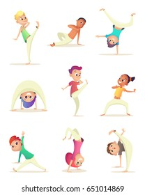 Funny Children practice capoeira movement. Kids doing different combat elements of martial arts. Cartoon design character. Vector illustration