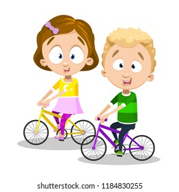 Funny children riding bicycles. Happy childhood and kids friendship.  Playful girl and boy cycling a5b4af6fd377