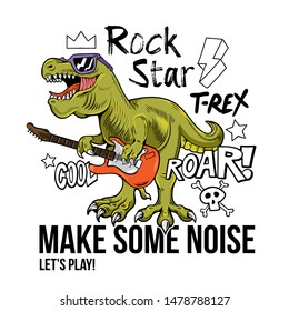 Funny children rock star T-REX Tyrannosaurus Rex dino dinosaur play on rock guitar. Cartoon character illustration vector Isolated white background for print design t shirt tee clothes sticker poster