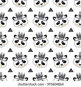 Funny children's pattern with pandas.  Funny children's pattern. Seamless for fabric design, gift wrapping paper and printing and web projects.