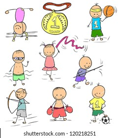 Funny childrens pictures of different athletes. Illustration done in the style doodle.
