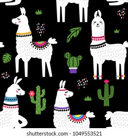 Funny children's textile pattern for printing fabrics. Seamless pattern with llama alpaca, cactus in cartoon style. flat vector illustration isolated on white background