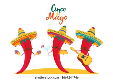 Funny chili peppers in sombrero play musical instruments guitar and maracas. Traditional mexican food tacos and margarita