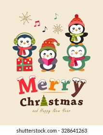 Penguin family christmas holiday greeting card background images funny christmas card and poster design cute animals vector illustration m4hsunfo