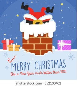 Funny Christmas Card with Santa stuck in chimney