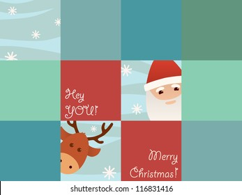 Funny Christmas card with squares
