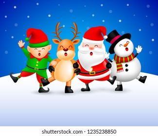 Funny Christmas Characters design on snow background, Santa Claus, Snowman, elf and Reindeer. Merry Christmas and Happy new year concept. Illustration isolated on blue background.