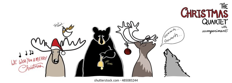 funny Christmas design vector with animals Christmas caroling, hand drawn moose with santa claus hat, black bear with bell, reindeer with hanging Christmas ornament, timber wolf, and cute bird singing