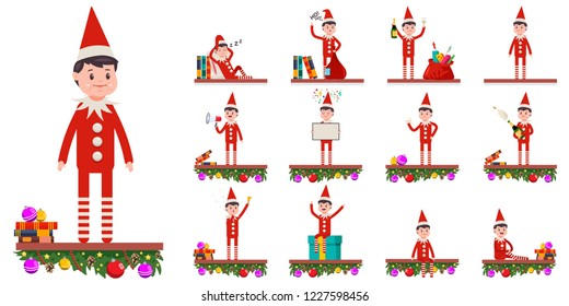 Funny Christmas elf. Cute Santa helper in different poses and emotions. Vector cartoon flat character set isolated on white background.