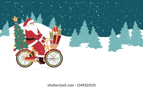 Funny Christmas illustration. Santa Claus on a bicycle with gifts. Holiday concept