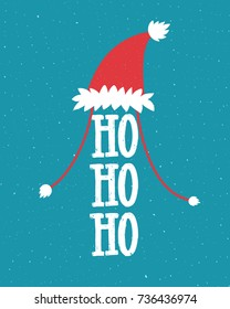 Funny Christmas illustration with Santa hat and laugh - ho ho ho. Hand lettering on blue background