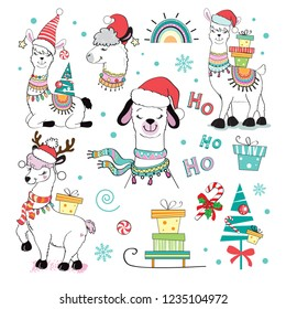 A funny christmas llamas set with present on a white background