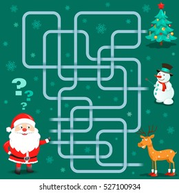 Funny Christmas Maze Game: Santa Claus is Choosing Christmas Friends. New Year Vector Illustration