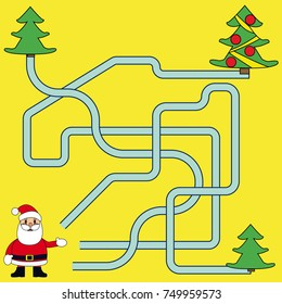 funny christmas maze game santa claus new year vector illustration