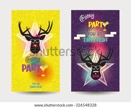 funny christmas party invitations hipster deer stock vector royalty