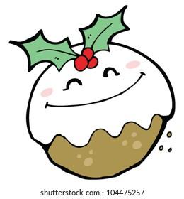 funny christmas pudding cartoon character