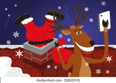 Funny christmas reindeer is doing selfie for social networks