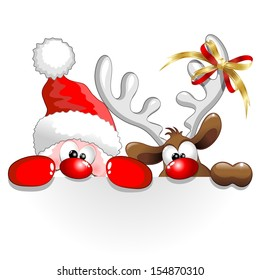 Funny Christmas Santa and Reindeer Cartoon