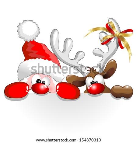 funny christmas santa and reindeer cartoon - Funny Christmas Photos