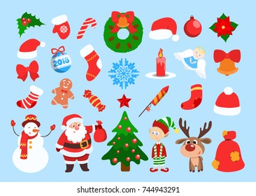 christmas cartoon images stock photos vectors shutterstock https www shutterstock com image vector funny christmas stickers santa bag gifts 744943291