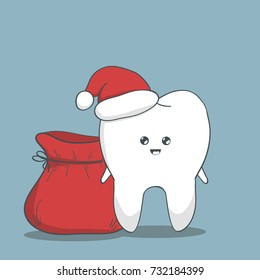 Funny Christmas tooth. Teeth with santa hat and bag.