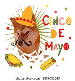 Funny cinco de mayo poster with low poly dog (shiba inu) in mexican hat - sombrero. Festive background, poster, banner.