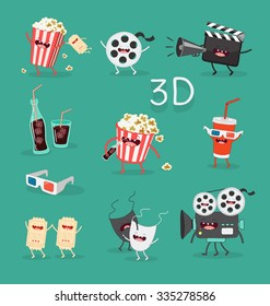 Funny cinema icons set. 3D glasses