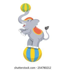 Funny circus elephant mascot vector illustration. Isolated on white background.