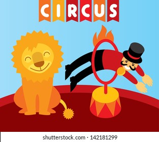 Funny circus.  Trainer jumping over the flame hoop instead of a lion in circus. Layered file. Vector design element and illustration