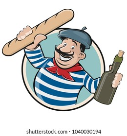 funny clipart of a french man with baguette and wine