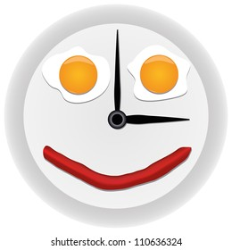 Funny clock with scrambled eggs