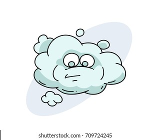 Funny cloud with face cartoon hand drawn image. Original colorful artwork, comic childish style drawing.
