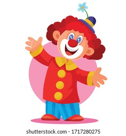 funny clown in a beautiful hat and with red hair on a white background, holiday, fun, childhood, vector illustration