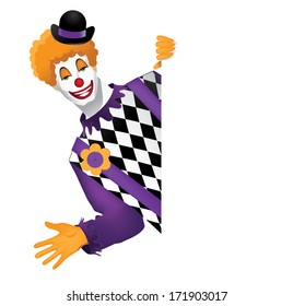 Funny Clown Behind Whiteboard. EPS 10 vector, grouped for easy editing. No open shapes or paths.