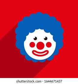 Funny Clown with blue hair wig. 1 April Fools day. Red background. Flat style.