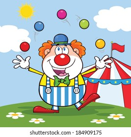 Funny Clown Cartoon Character Juggling With Balls In Front Of Circus Tent. Vector Illustration