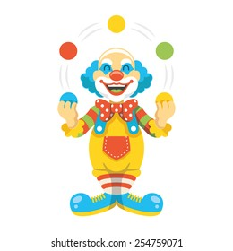 Funny clown character vector illustration. Creative trendy concept. Modern graphic design elements. Isolated on white background.