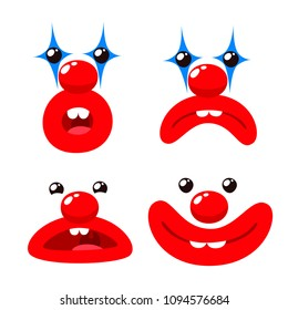 Funny Clown Face With Red Lips and Nose  Set. Surprise, Upset and Smile on White Background. Cartoon Style Vector Illustration